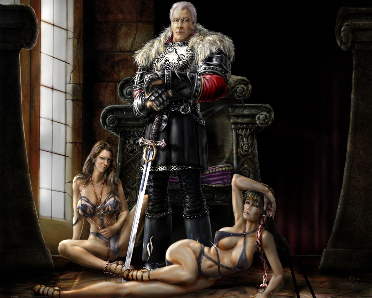 Baron with enslaved women