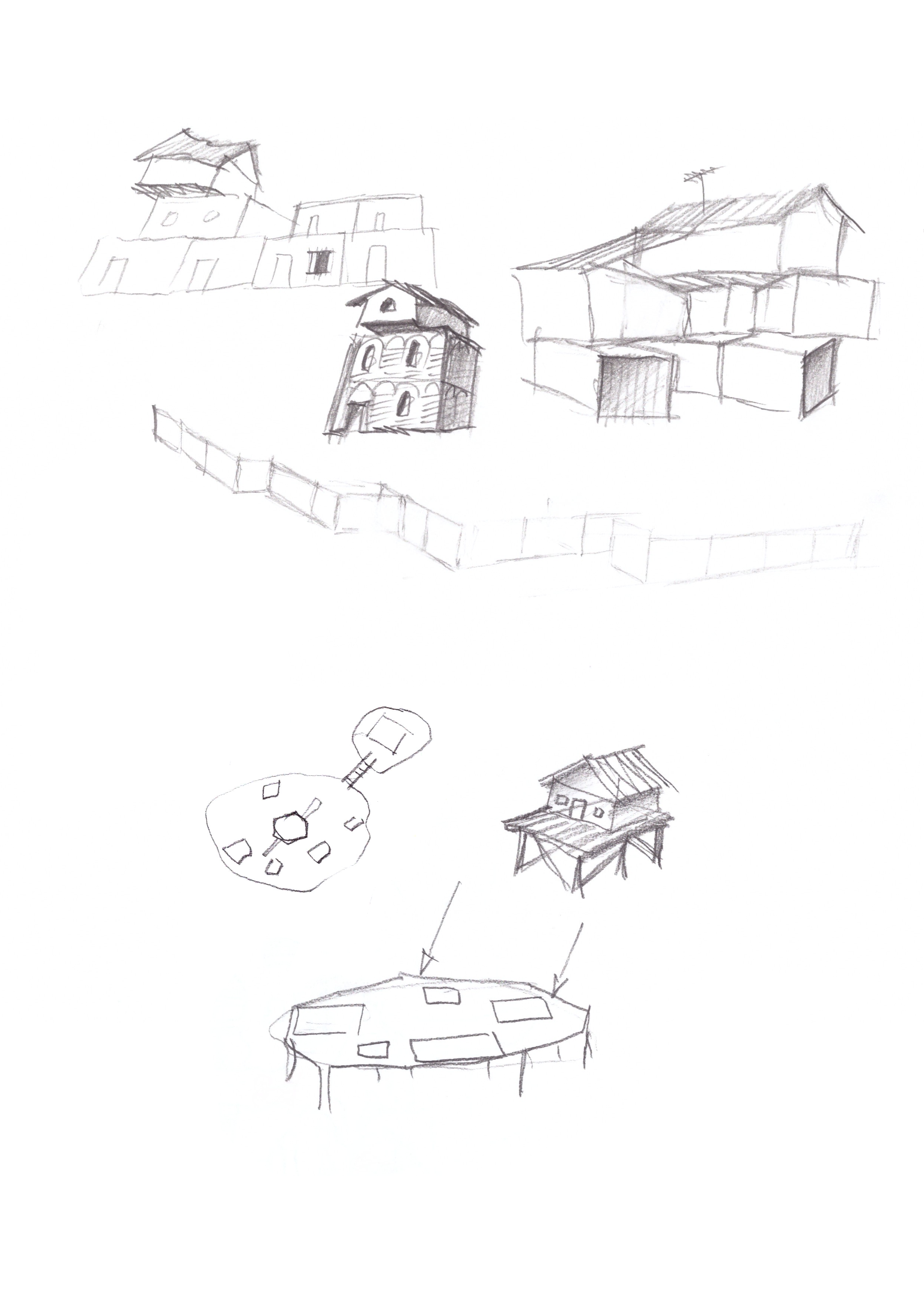 some huts