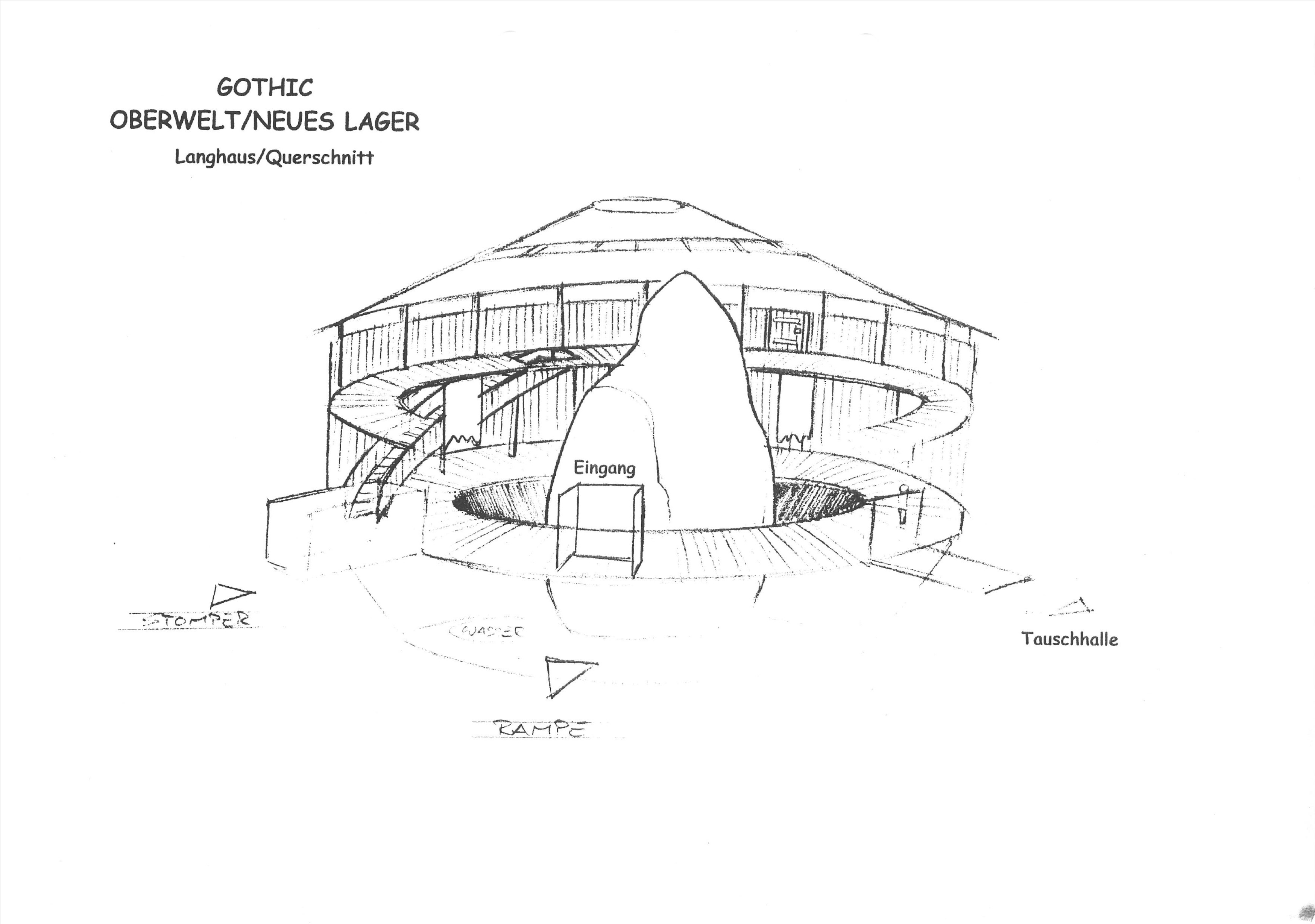 Neues Lager - Langhaus V2 - Querschnitt