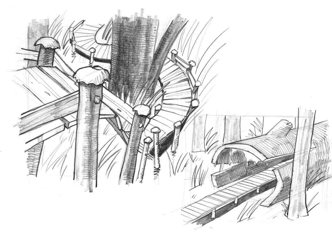 Sektentempel - Plattformen und Baeume