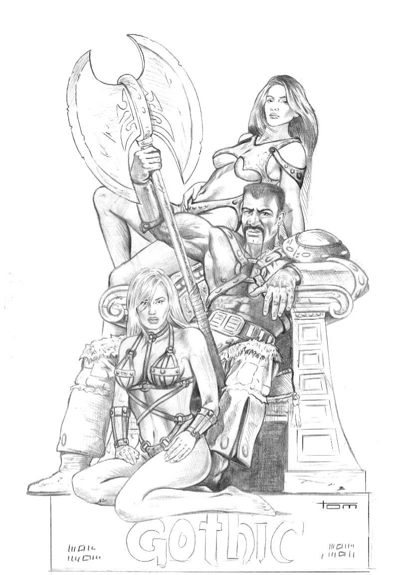 Gorn with Babes Original Sketch