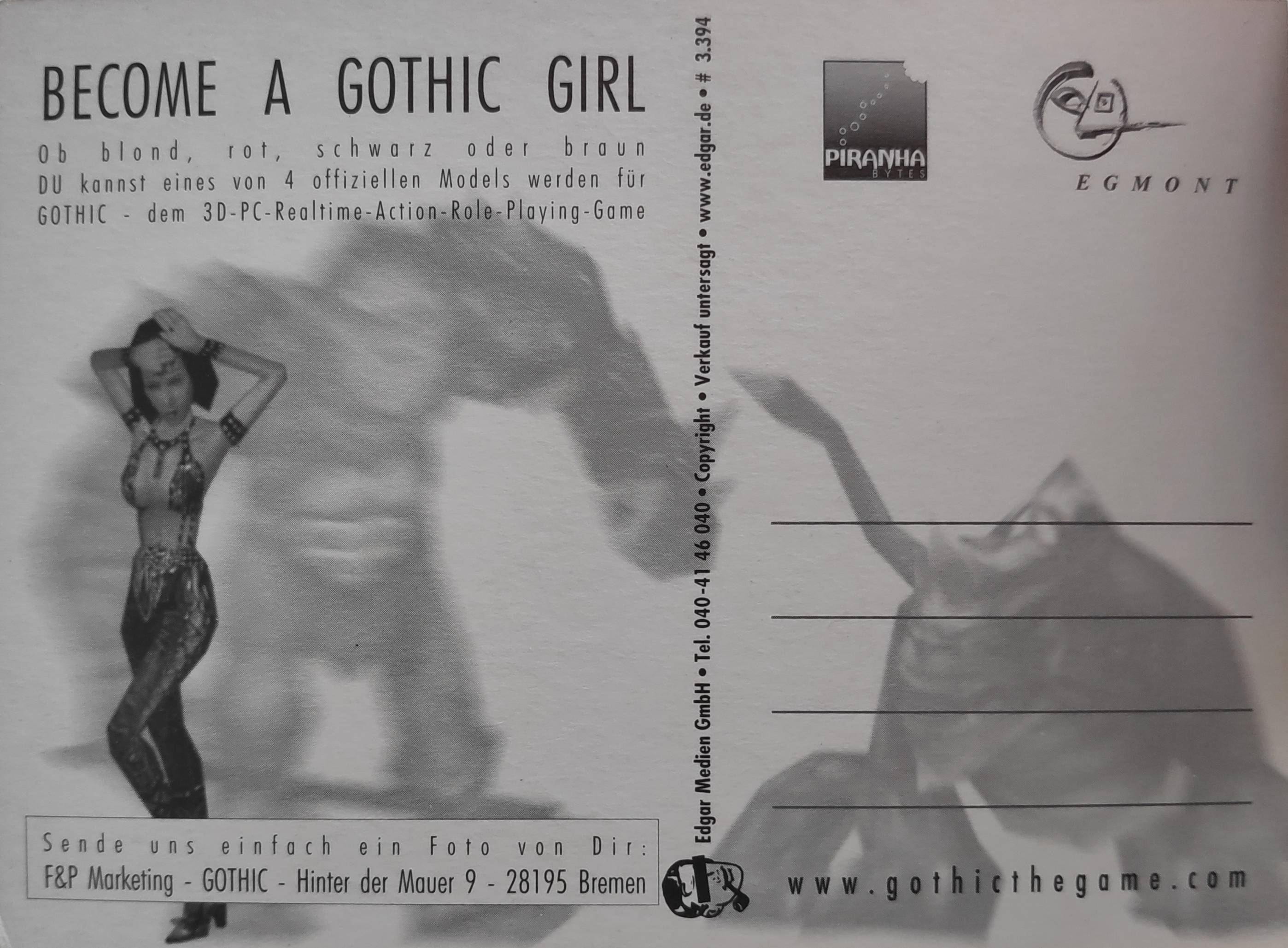 Edgar Karte Photo: 'Become a Gothic Girl No2' Rückseite
