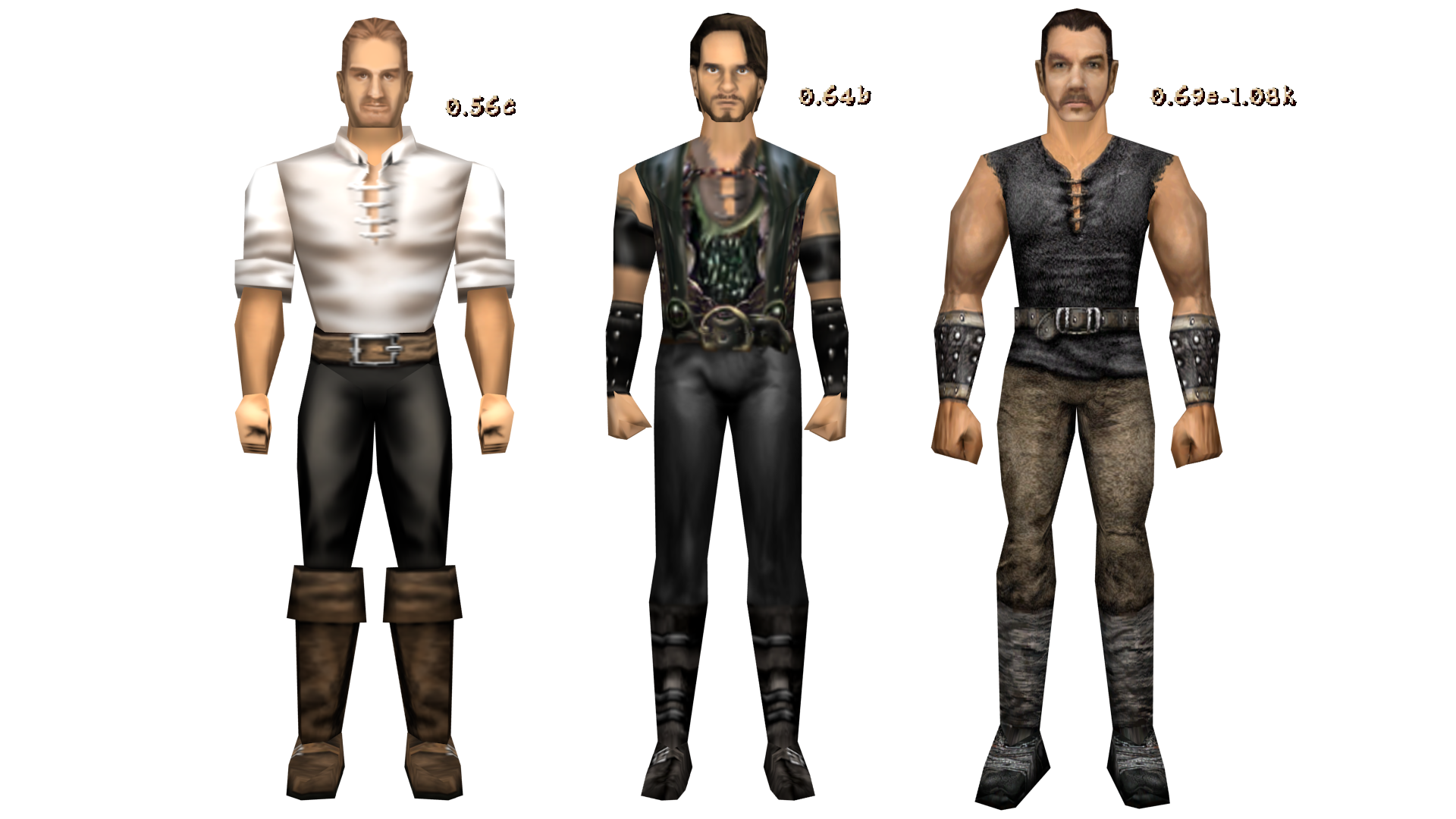 three different body models textured