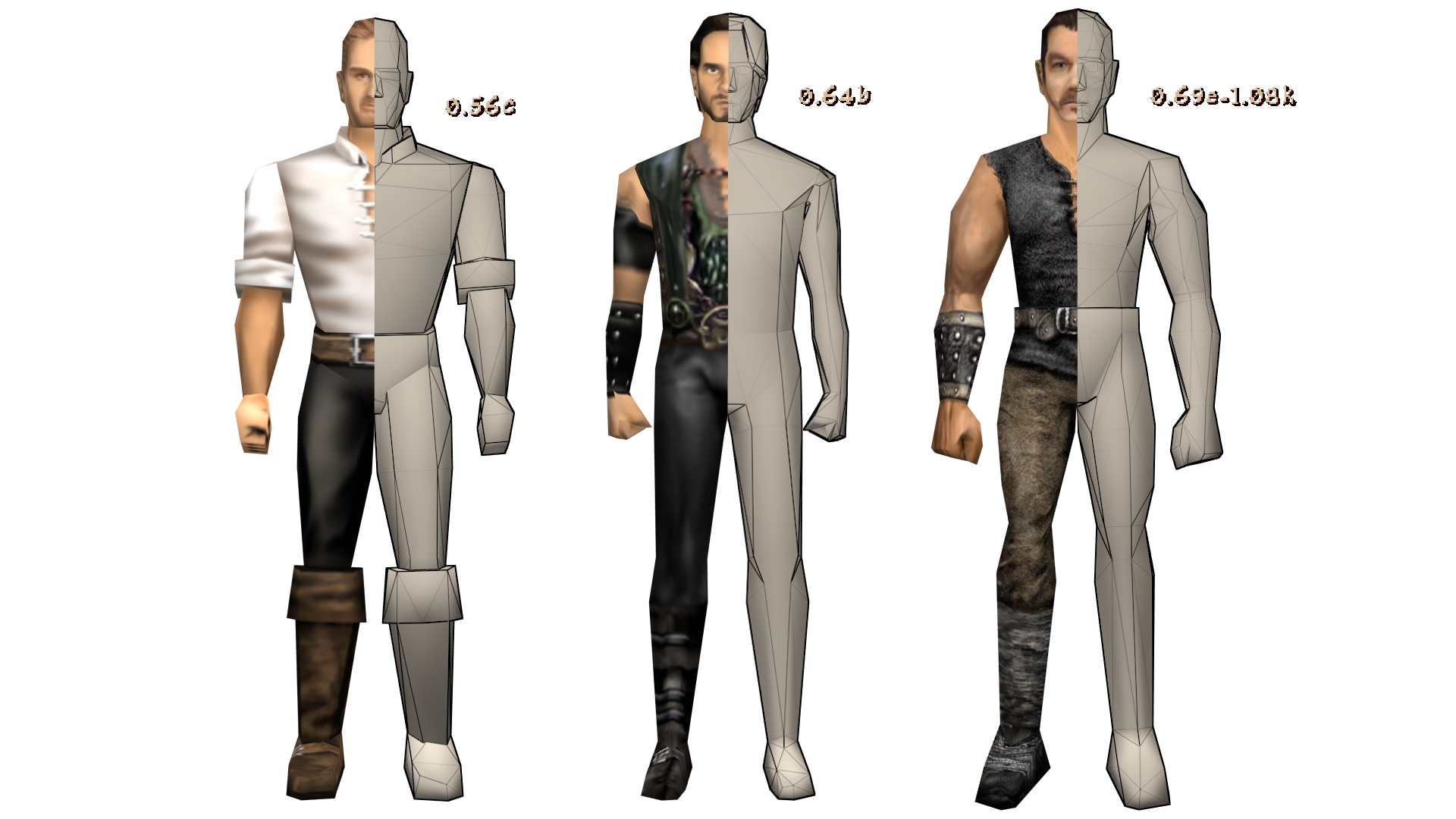 three different body models half textured, half untextured