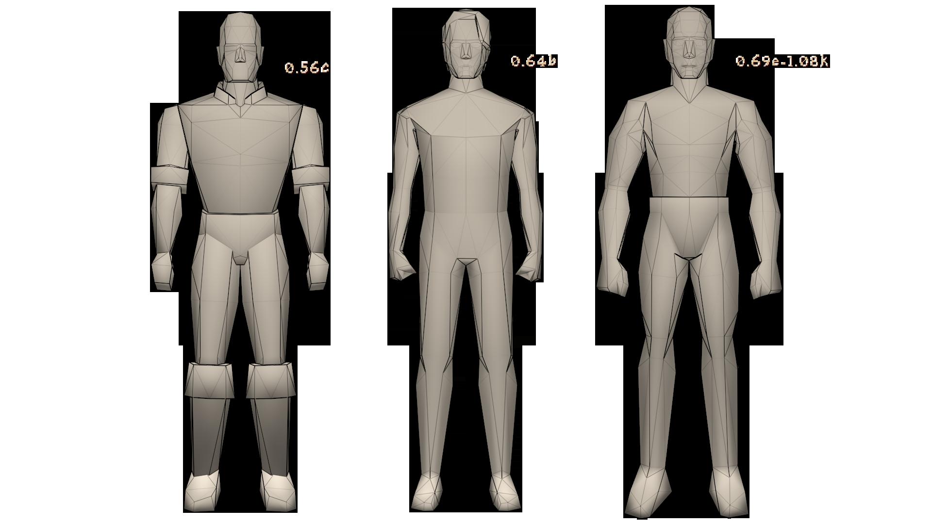 three different body models untextured
